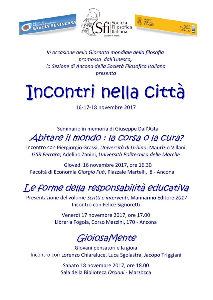 Sezione di Ancona - Incontri nella città 16-17-18 novembre 2017