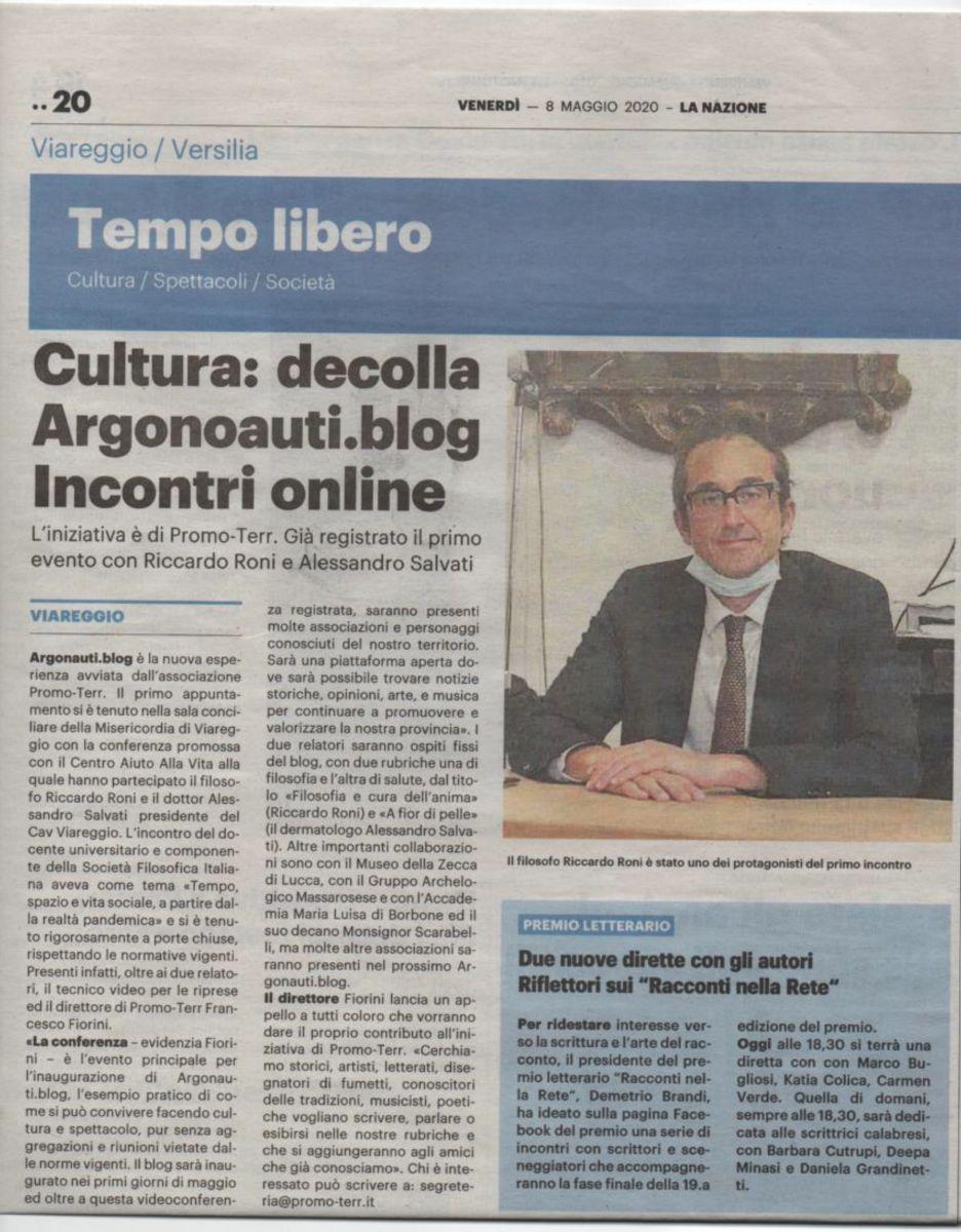 """Su """"La Nazione"""" il nuovo blog culturale """"Argonauti"""" con la sezione  """"cura dell'anima"""" (a cura di Riccardo Roni)"""