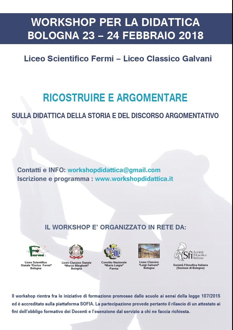 Sezione di Bologna: RICOSTRUIRE E ARGOMENTARE - WORKSHOP SULLA DIDATTICA DELLA STORIA E DEL DISCORSO ARGOMENTATIVO