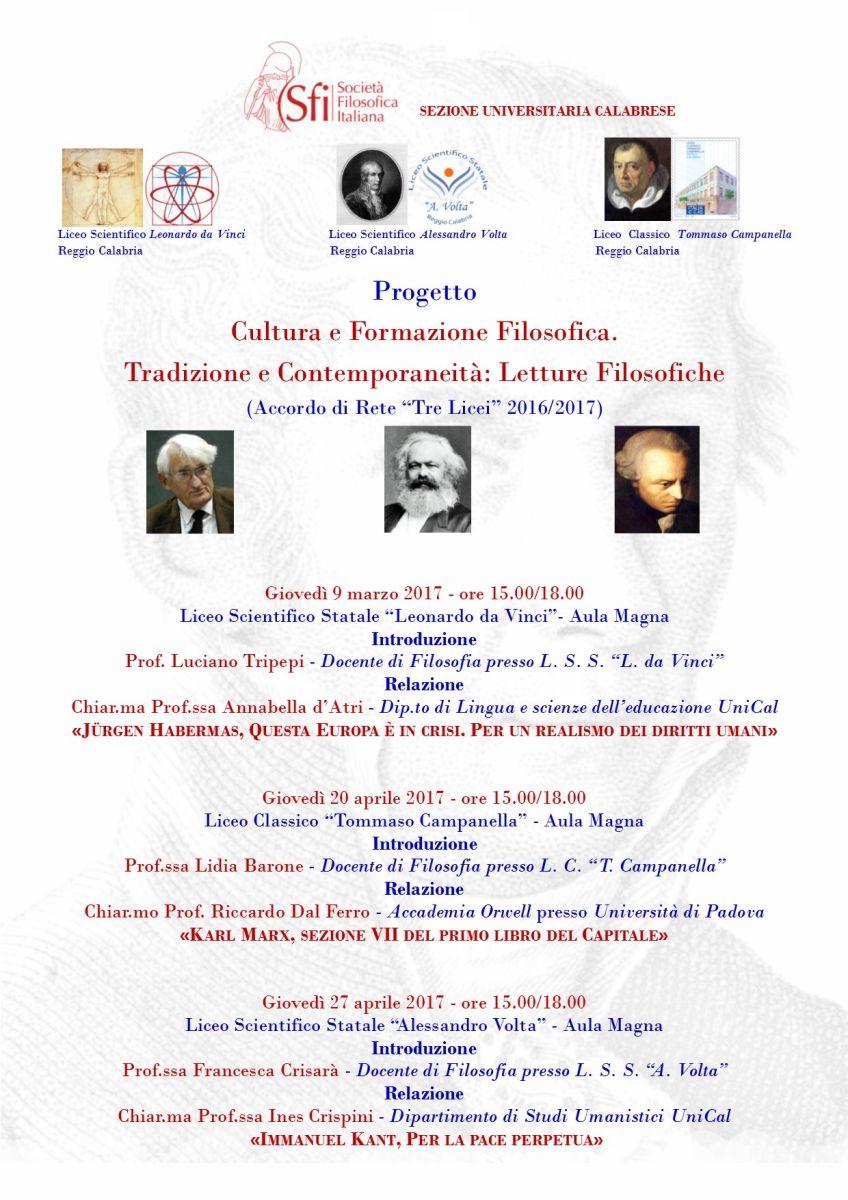 Sezione Universitaria Calabrese - Tradizione e Contemporaneità: Letture filosofiche