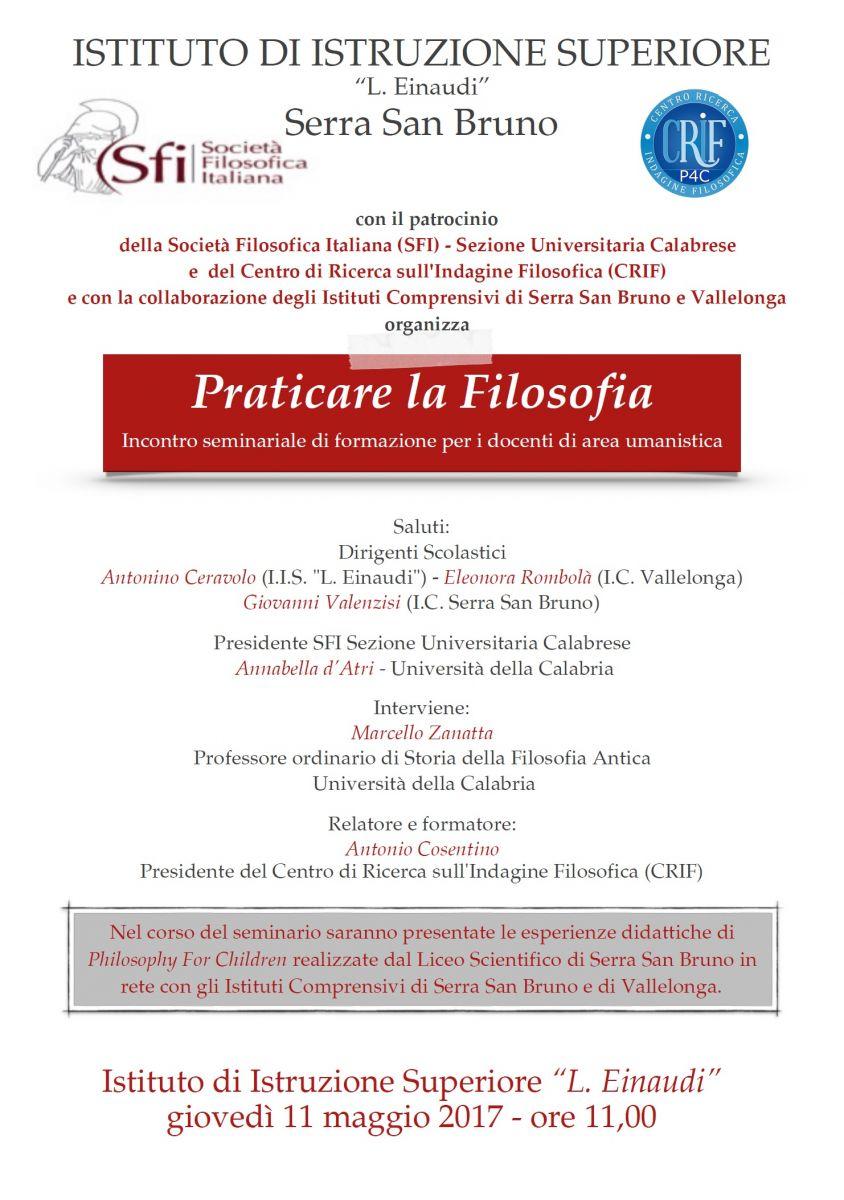 Sezione Universitaria calabrese - Praticare la Filosofia: Incontro seminariale di formazione per i docenti di area umanistica
