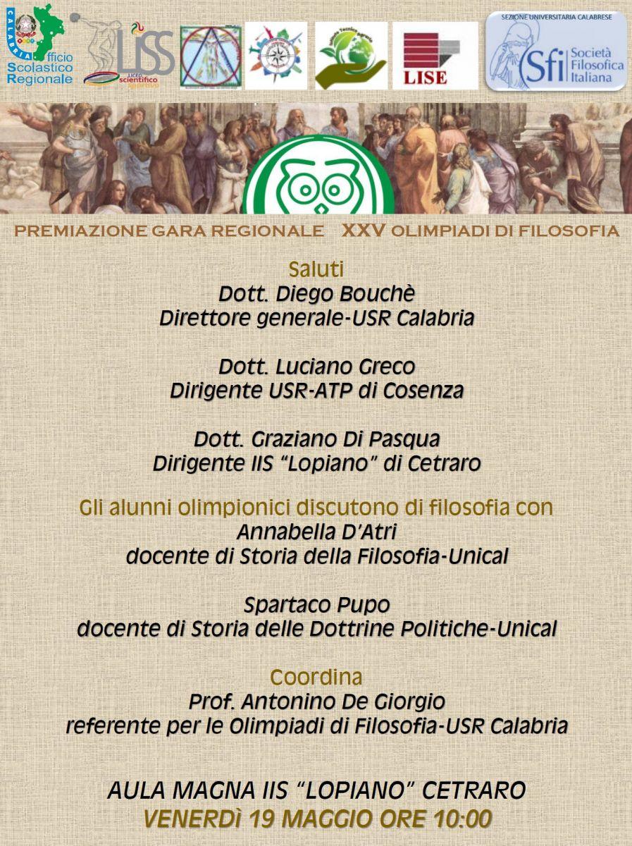 Sezione Universitaria calabrese - PREMIAZIONE GARA REGIONALE XXV OLIMPIADI DI FILOSOFIA