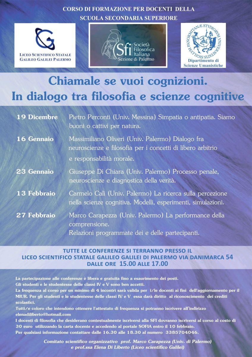 """Sezione di Palermo - Ciclo di conferenze: """"Chiamale se vuoi cognizioni. In dialogo tra filosofia e scienze cognitive"""""""