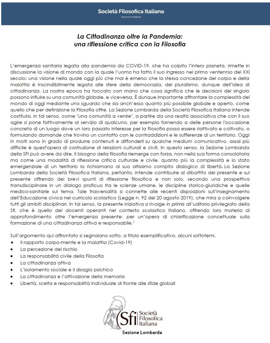 La Cittadinanza oltre la Pandemia: una riflessione critica con la Filosofia - Un progetto della Sfi sezione lombarda