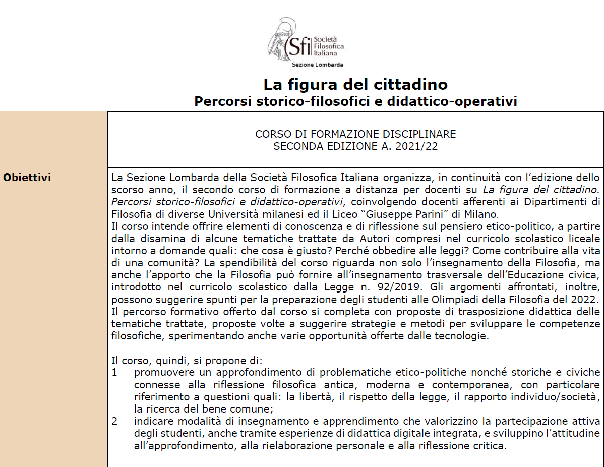 SFI Lombarda - Corso di formazione: La figura del cittadino. Percorsi storico-filosofici e didattico-operativi