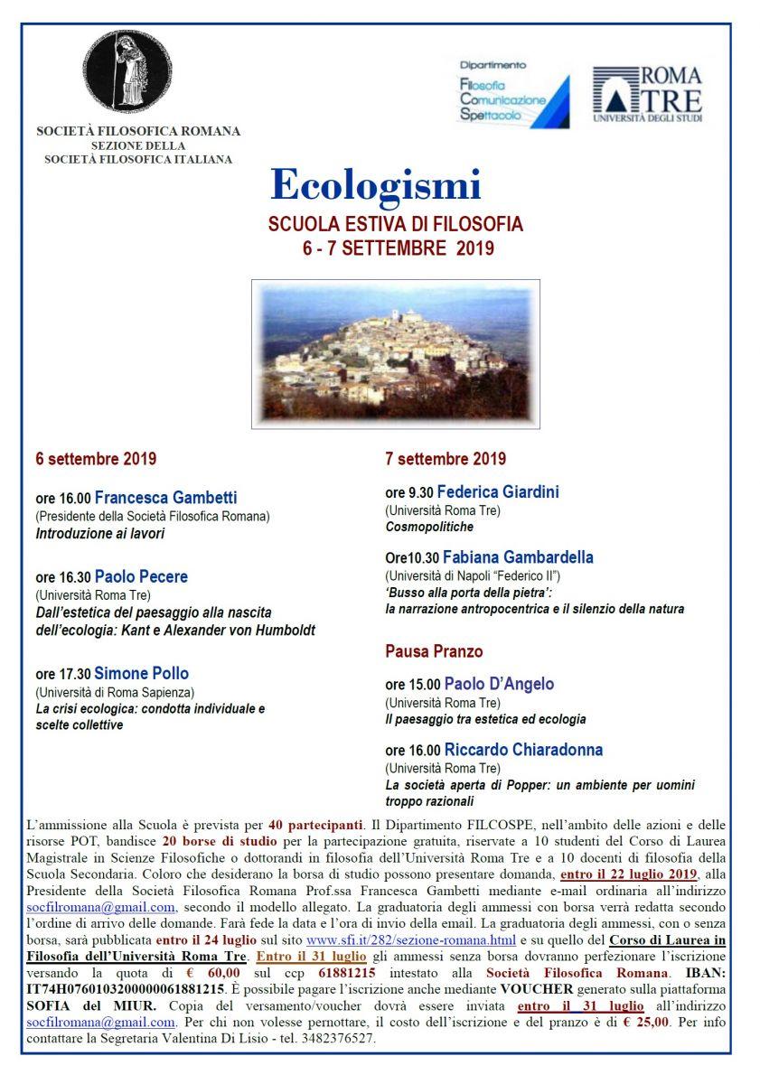 Ecologismi - SCUOLA ESTIVA DI FILOSOFIA 6 - 7 SETTEMBRE 2019