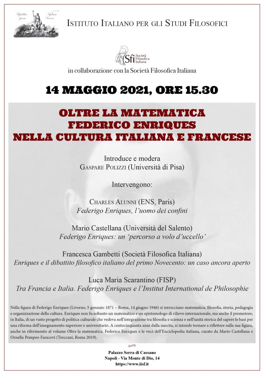 OLTRE LA MATEMATICA FEDERICO ENRIQUES NELLA CULTURA ITALIANA E FRANCESE