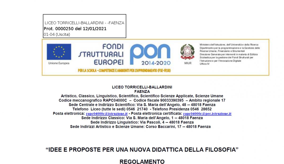 """LICEO TORRICELLI-BALLARDINI FAENZA - """"Idee e proposte per una nuova didattica della filosofia"""""""