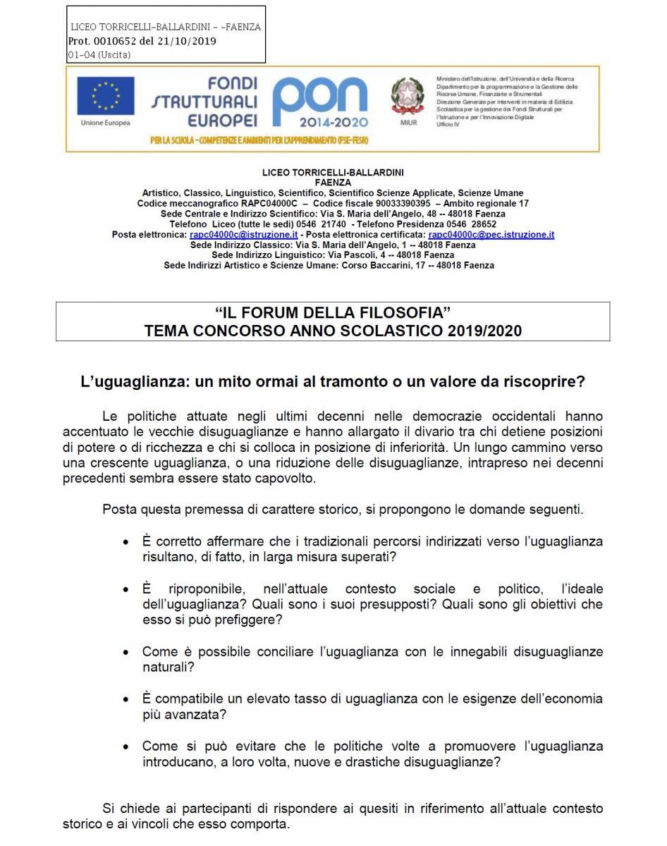 FORUM DELLA FILOSOFIA: TEMA E REGOLAMENTO a.s. 2019-20