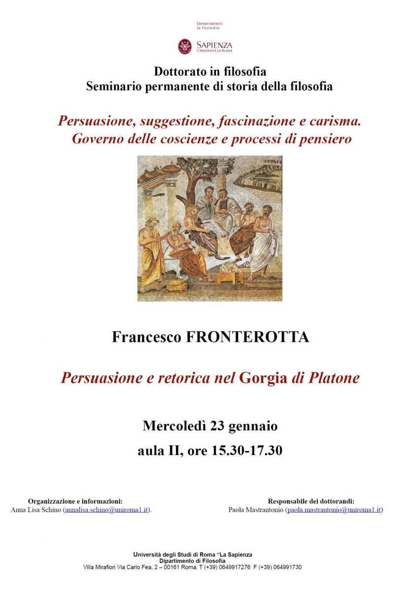 Francesco FRONTEROTTA - Persuasione e retorica nel Gorgia di Platone