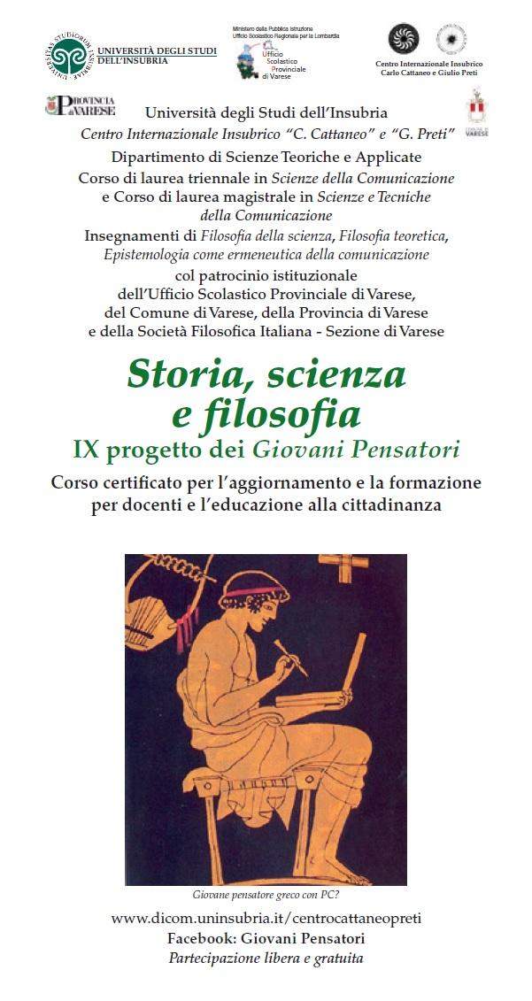 Sezione di Varese: Storia, scienza e filosofia - IX progetto dei Giovani Pensatori (ed. 2017-2018)
