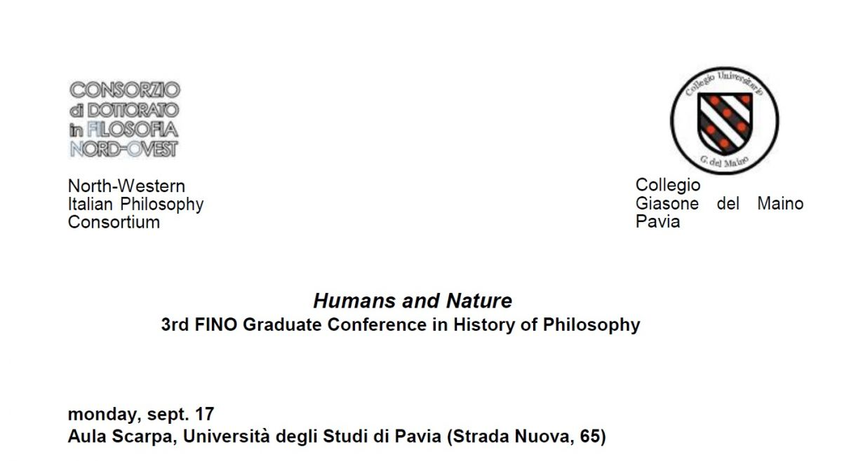 Humans and Nature - 3rd FINO Graduate Conference in History of Philosophy