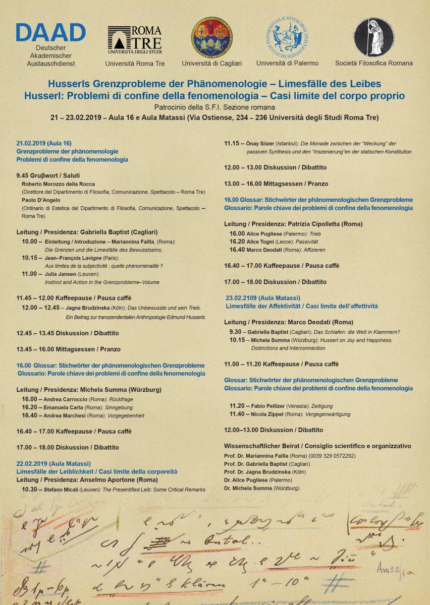 Husserl: Problemi di confine della fenomenologia – Casi limite del corpo proprio con il patrocinio della S.F.I. Sezione romana