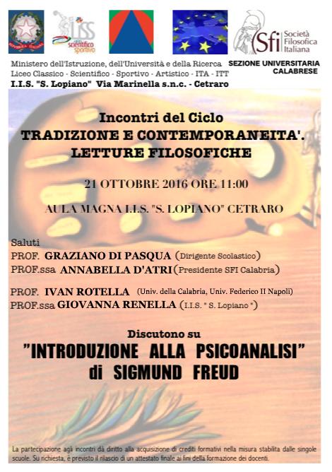 Sezione Universitaria Calabrese - Introduzione alla psicoanalisi di S. Freud (ciclo tradizione e contemporaneità)