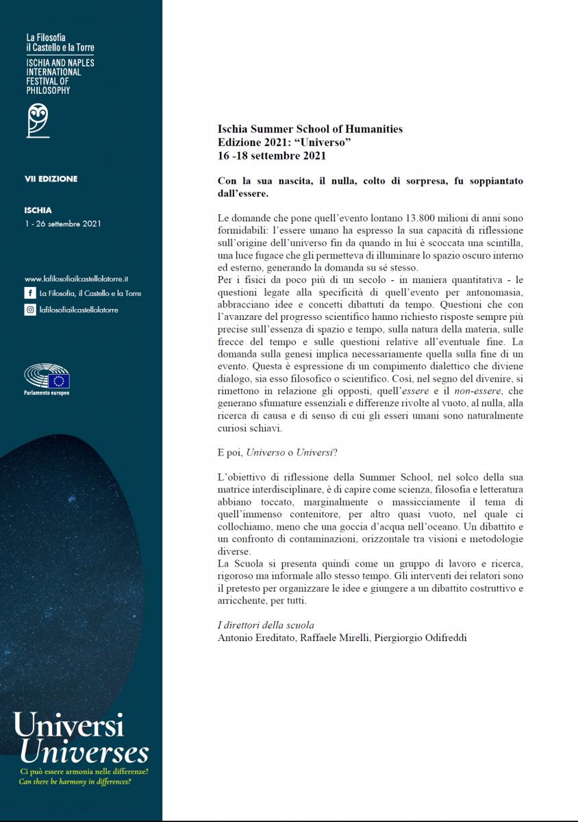 """Ischia Summer School of Humanities - Edizione 2021: """"Universo""""  -16 -18 settembre 2021"""