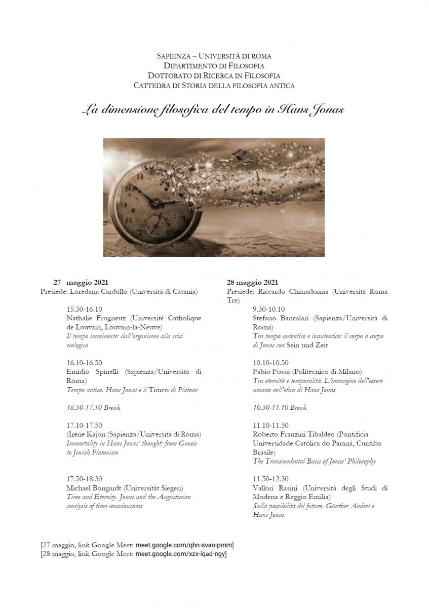 Convegno: La dimensione filosofica del tempo in Hans Jonas