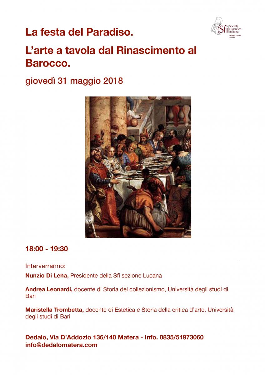Sezione Lucana di Matera - LA FESTA DEL PARADISO L'ARTE A TAVOLA DAL RINASCIMENTO AL BAROCCO