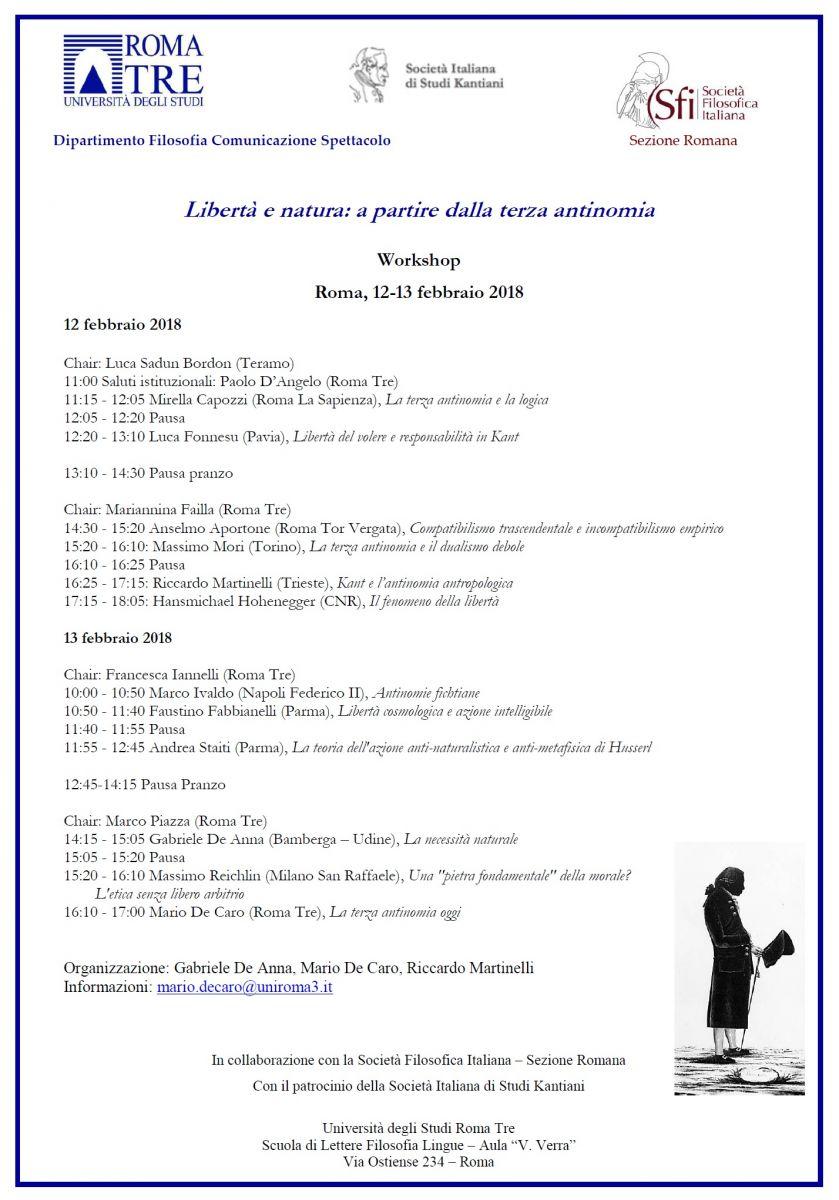 Sezione Romana - Workshop - Libertà e natura: a partire dalla terza antinomia