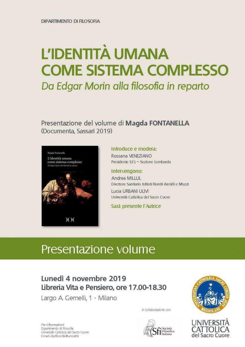 Sezione Lombarda: Presentazione volume: L'identità umana come sistema complesso. Da Edgar Morin alla filosofia in reparto