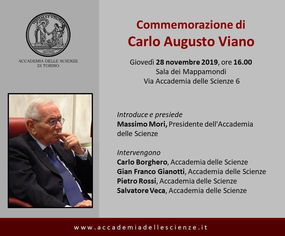Accademia delle Scienze di Torino - Commemorazione di Carlo Augusto Viano