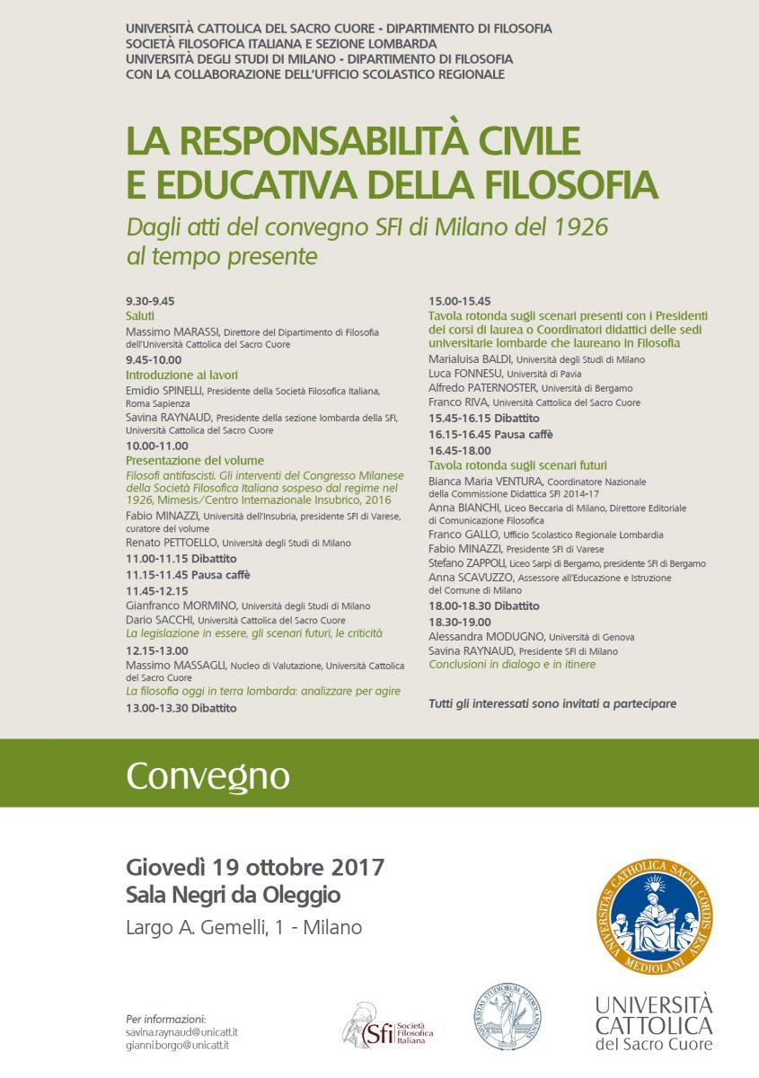 Convegno: La responsabilità civile ed educativa della filosofia
