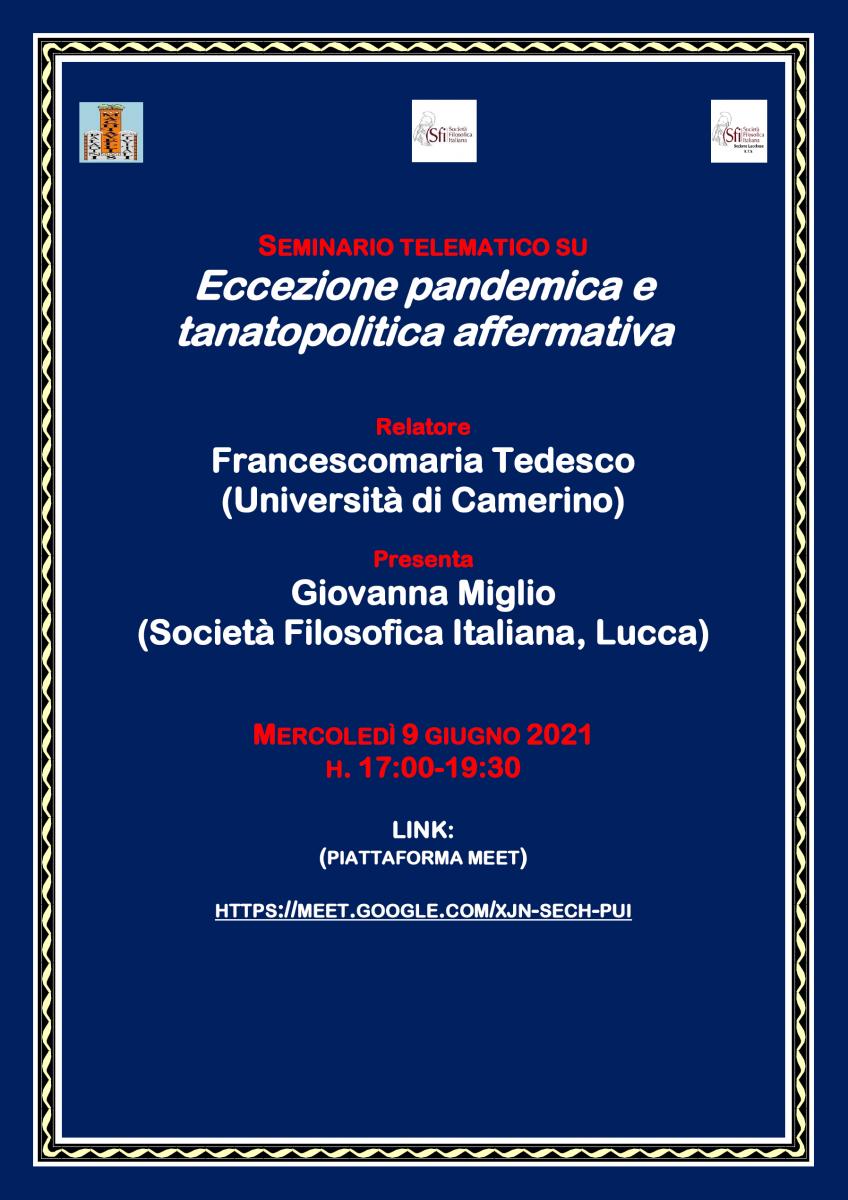 Sezione di Lucca - Seminario telematico: Eccezione pandemica e tanatopolitica affermativa