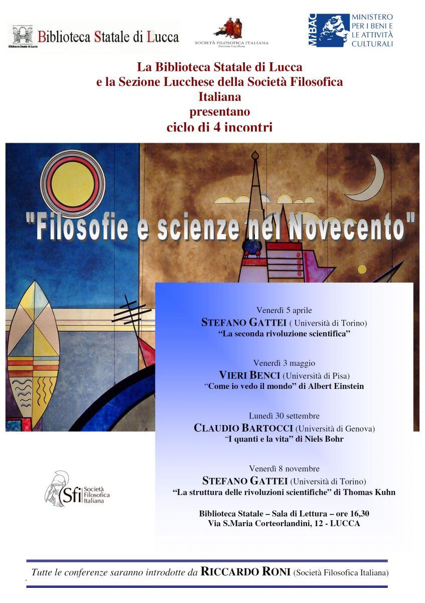 Ciclo di incontri: Filosofie e scienze nel Novecento