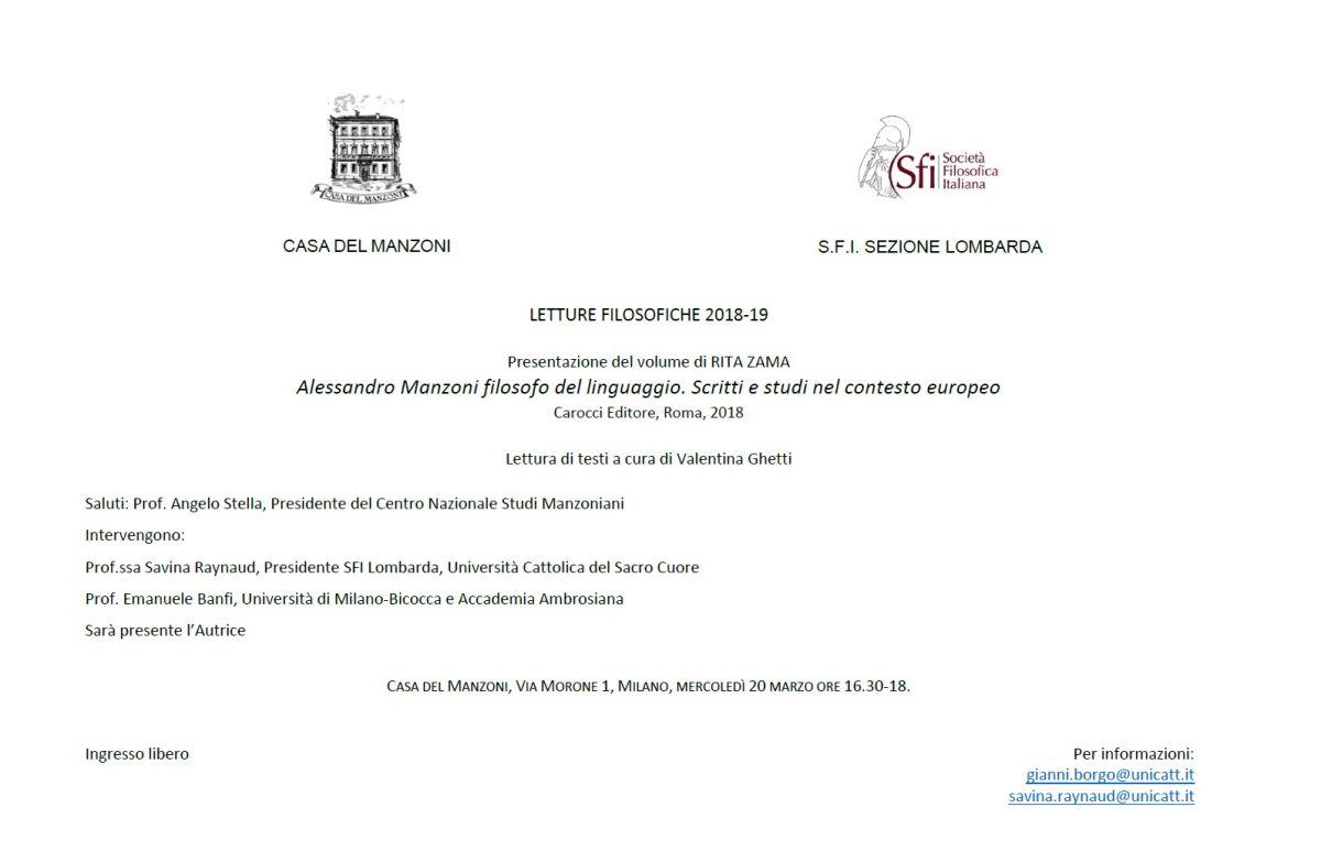 LETTURE FILOSOFICHE 2018-19: Alessandro Manzoni filosofo del linguaggio. Scritti e studi nel contesto europeo