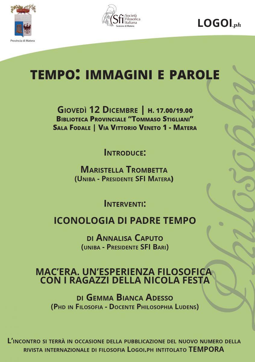 Sezione Lucana di Matera - Seminario - TEMPO: IMMAGINI E PAROLE