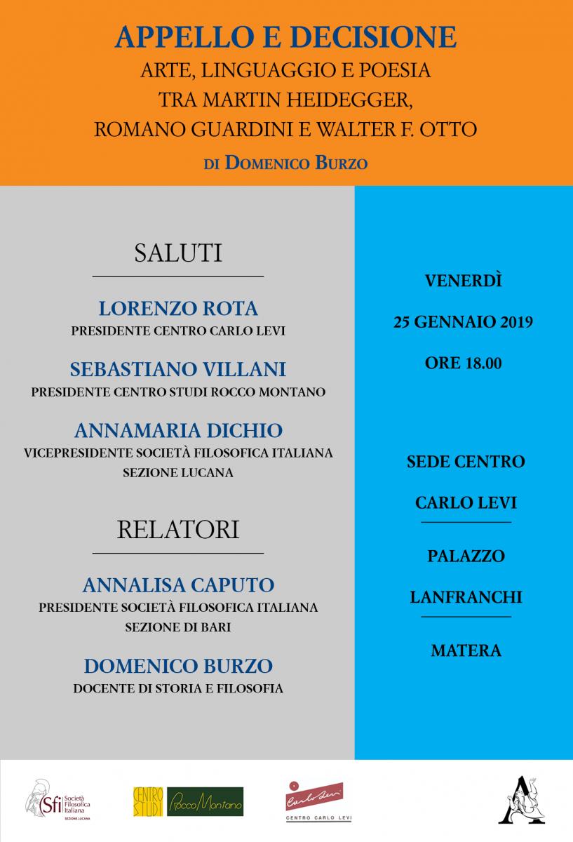 Sezione Lucana di Matera - APPELLO E DECISIONE: Arte, linguaggio e poesia tra Martin Heidegger, Romano Guardini e Walter F. Otto