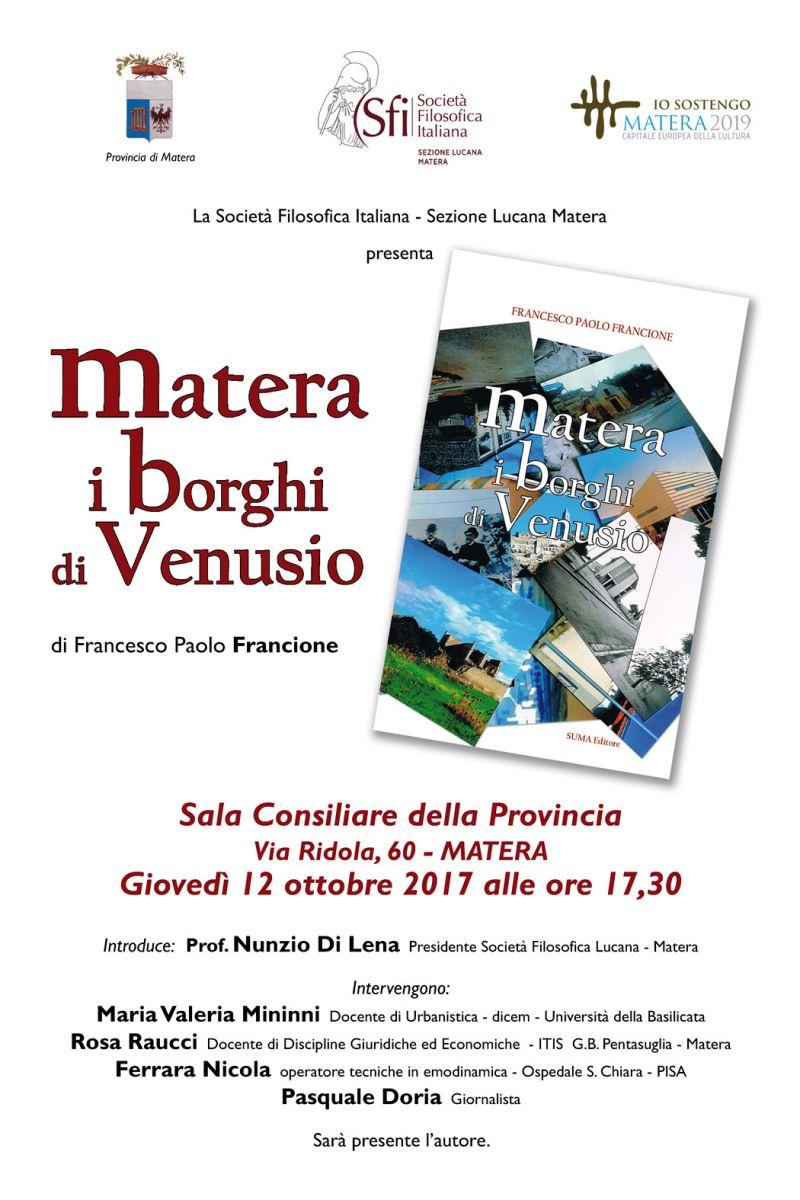 Sezione Lucana Matera: MATERA. I BORGHI DI VENUSIO