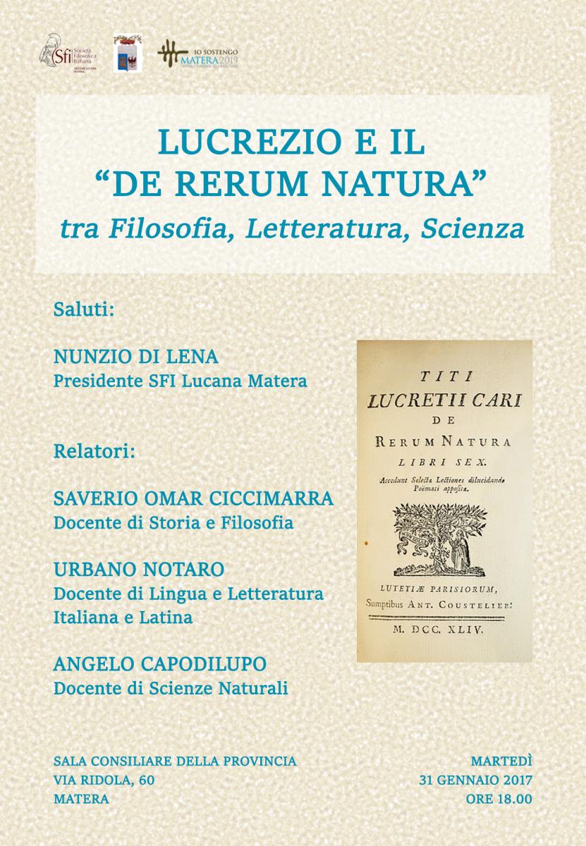 Sezione Lucana - Matera - Convegno: LUCREZIO E IL