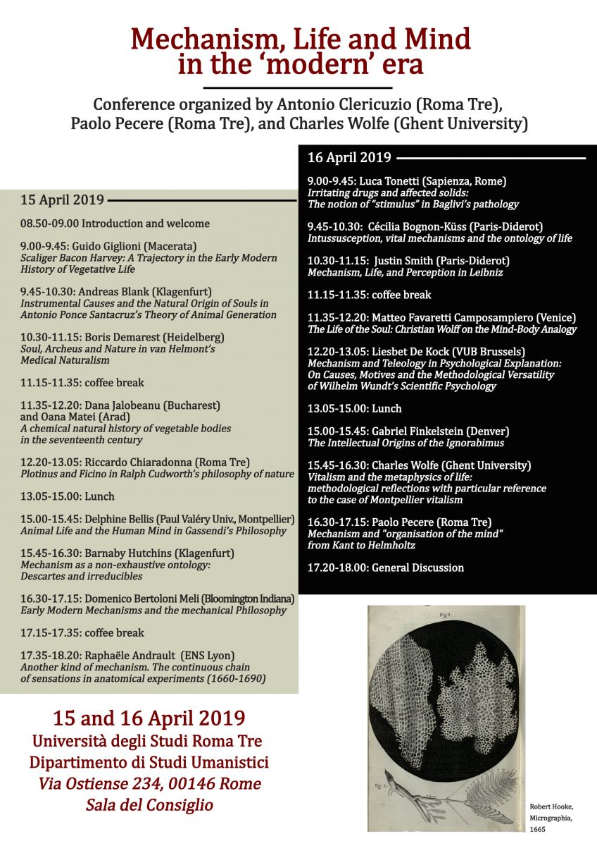 "Conferenza: Mechanism, Life and Mind in the ""modern"" era"