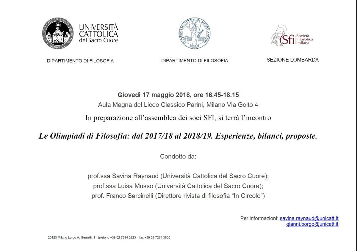 Sezione Lombarda: Le Olimpiadi di Filosofia: dal 2017/18 al 2018/19. Esperienze, bilanci, proposte.