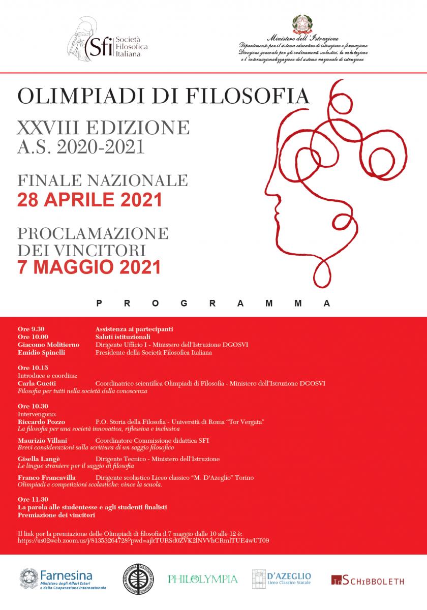 OLIMPIADI DI FILOSOFIA XXVIII EDIZIONE A.S. 2020-2021: FINALE NAZIONALE E PROCLAMAZIONE VINCITORI