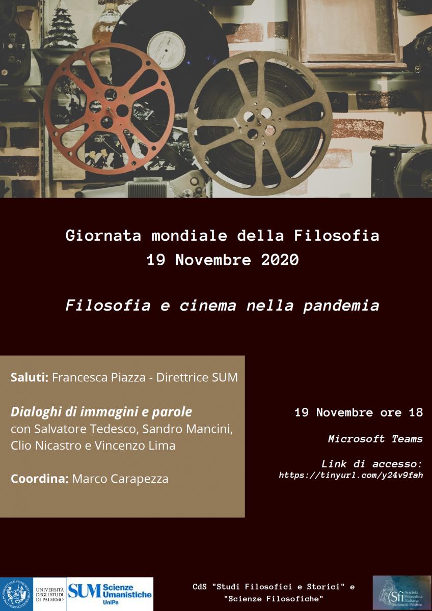 Giornata mondiale della Filosofia. Filosofia e cinema nella pandemia