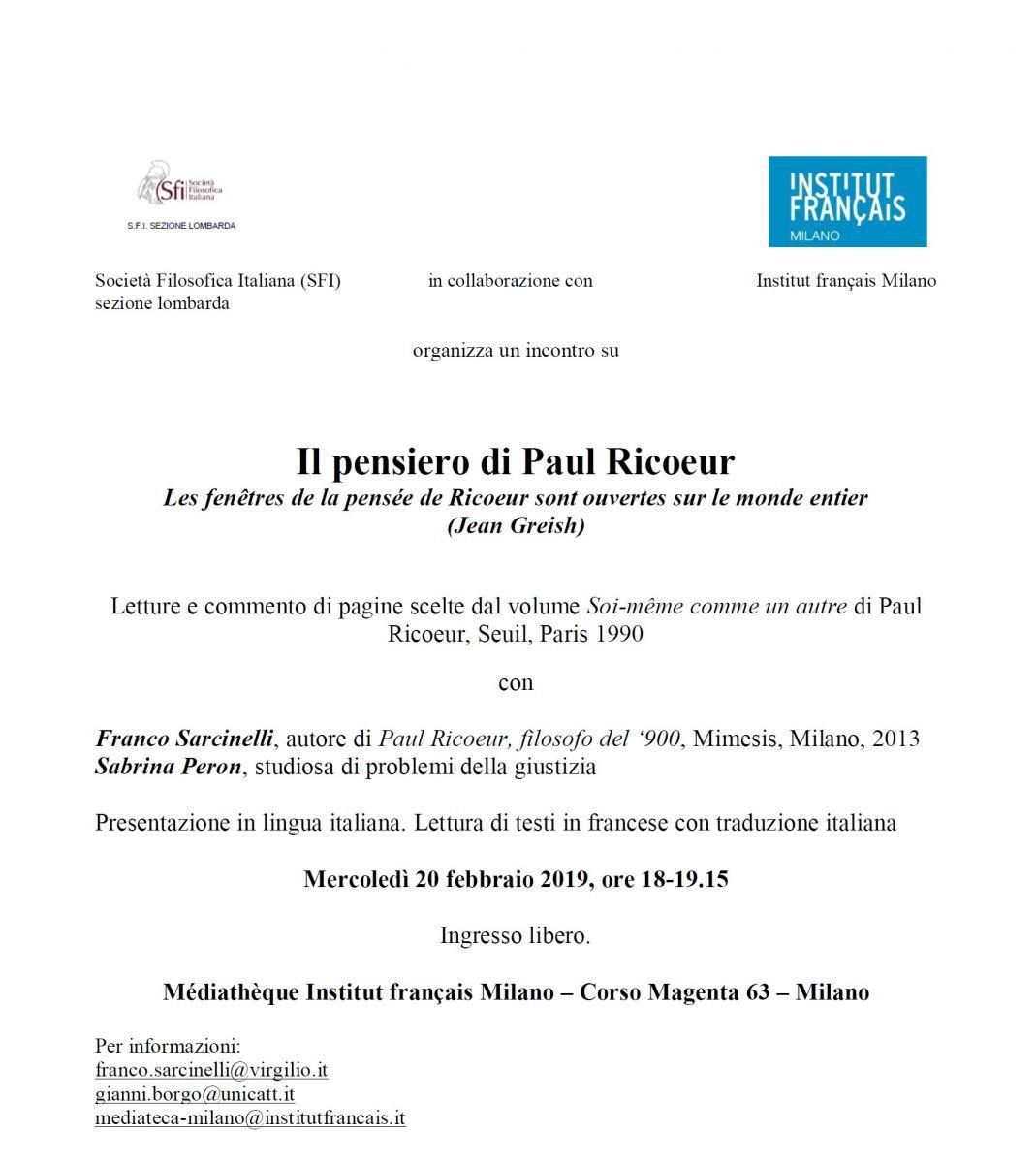 Il pensiero di Paul Ricoeur - Les fenêtres de la pensée de Ricoeur sont ouvertes sur le monde entier (Jean Greish)