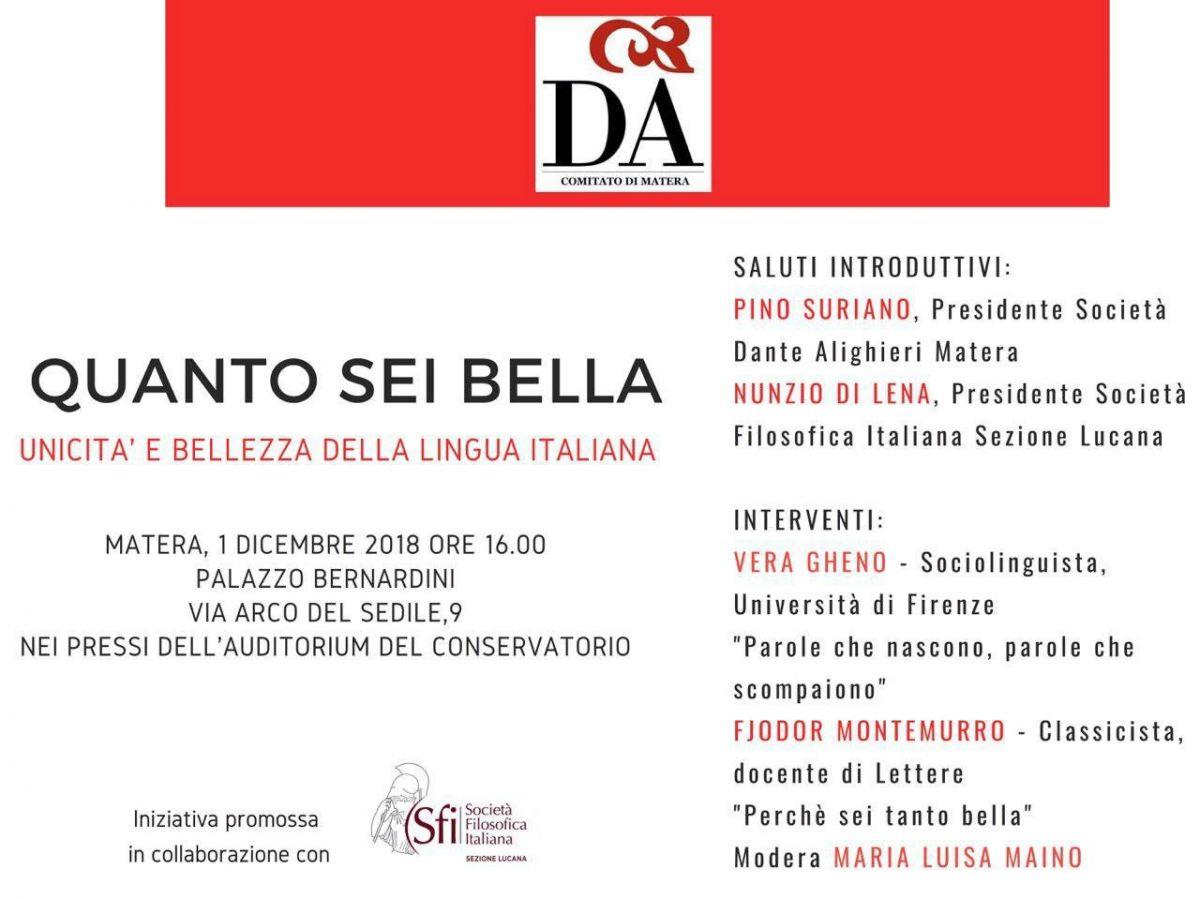 Sezione Lucana di Matera - QUANTO SEI BELLA. UNICITÀ E BELLEZZA DELLA LINGUA ITALIANA
