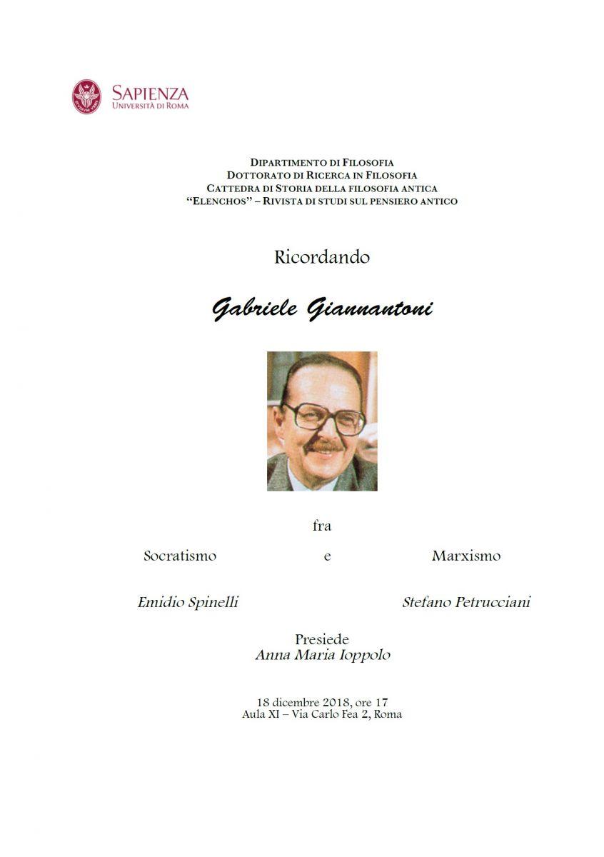 Società Filosofica Romana - Ricordando Gabriele Giannantoni fra Socratismo e Marxismo