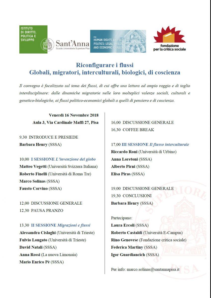 Convegno: Riconfigurare i flussi Globali, migratori, interculturali, biologici, di coscienza