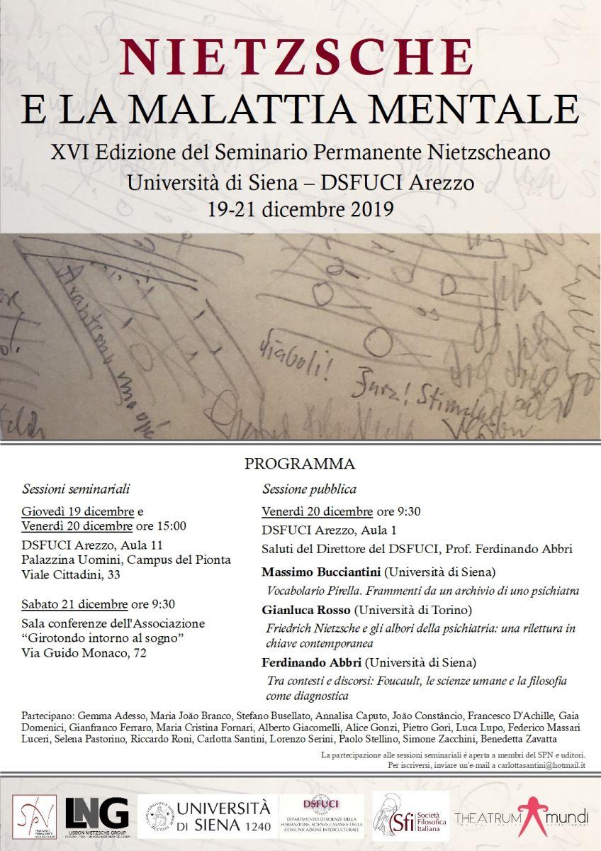 NIETZSCHE E LA MALATTIA MENTALE - XVI Edizione del Seminario Permanente Nietzscheano - Università di Siena – DSFUCI Arezzo