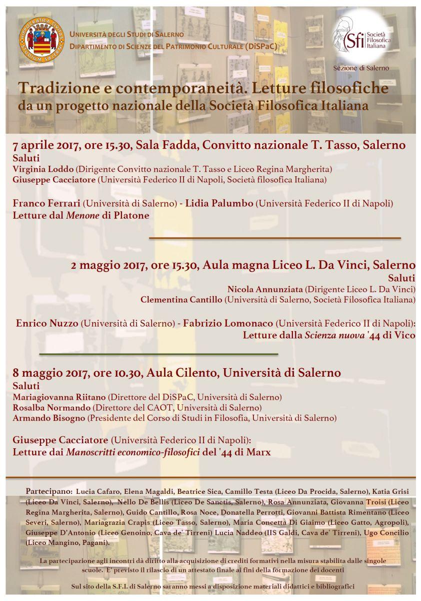 Sezione di Salerno - Tradizione e contemporaneità. Letture filosofiche