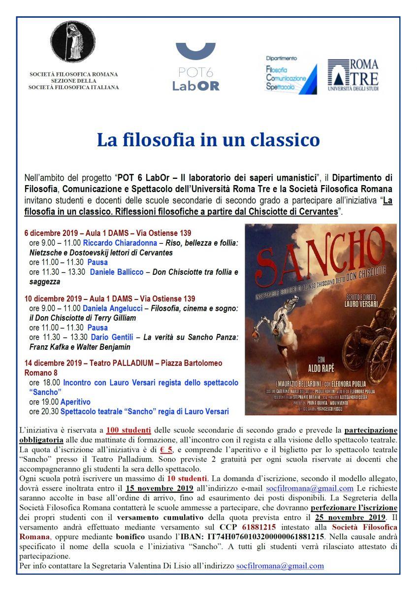 Società Filosofica Romana: La filosofia in un classico. Sancho