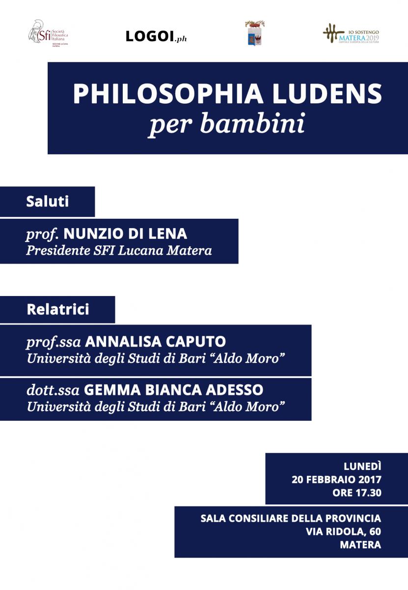 Sezione Lucana di Matera - PHILOSOPHIA LUDENS PER BAMBINI
