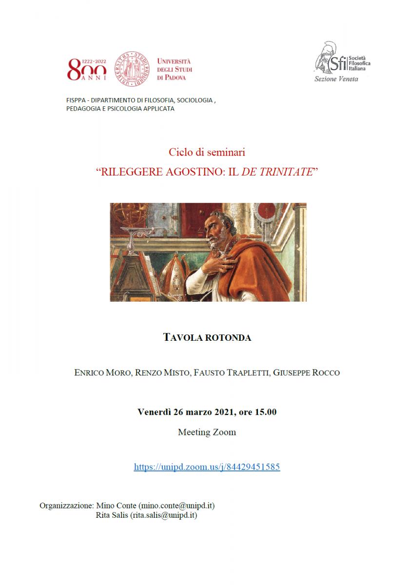"""Sezione Veneta - Ciclo di seminari """"RILEGGERE AGOSTINO: IL DE TRINITATE"""" TAVOLA ROTONDA"""