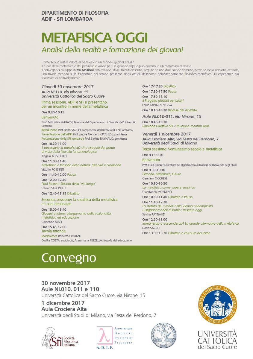 Convegno: METAFISICA OGGI - Analisi della realtà e formazione dei giovani