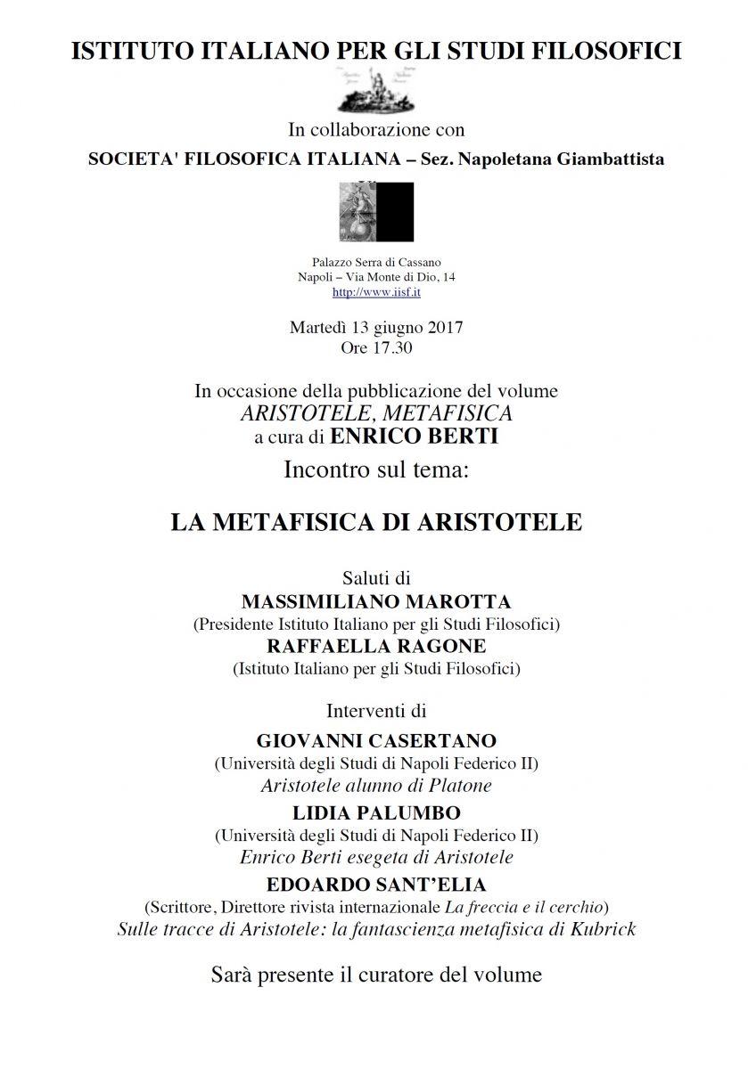 Sezione Napoletana - IISF - Aristotele, La Metafisica presentazione del libro a cura di Enrico Berti