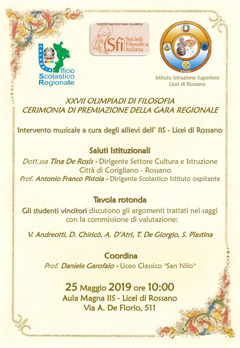 Sezione Universitaria Calabrese: XXVII OLIMPIADI DI FILOSOFIA CERIMONIA DI PREMIAZIONE DELLA GARA REGIONALE