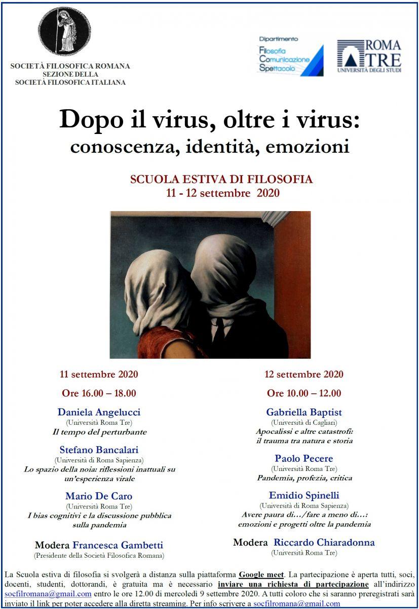 Società Filosofica Romana - SCUOLA ESTIVA DI FILOSOFIA 2020: Dopo il virus, oltre i virus: conoscenza, identità, emozioni