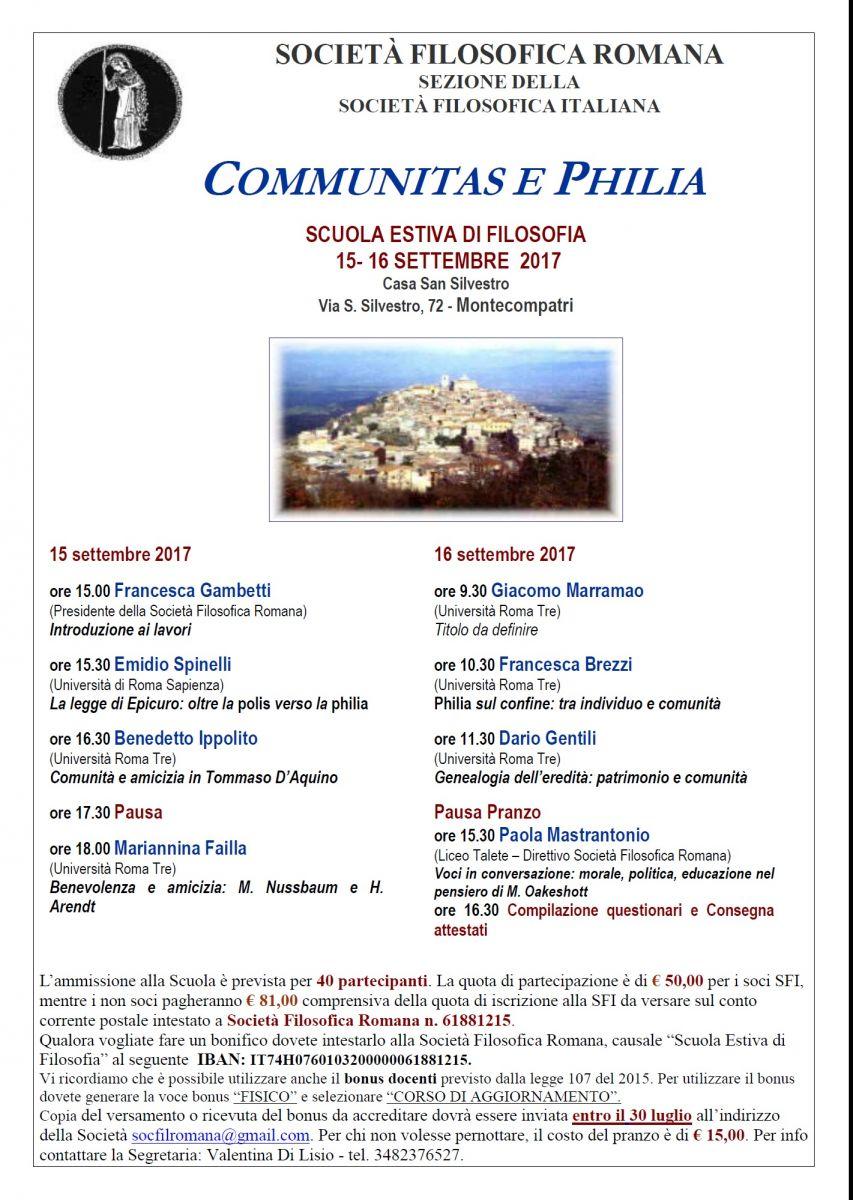 """Scuola Estiva di Filosofia 2017: """"Communitas e Philia"""""""